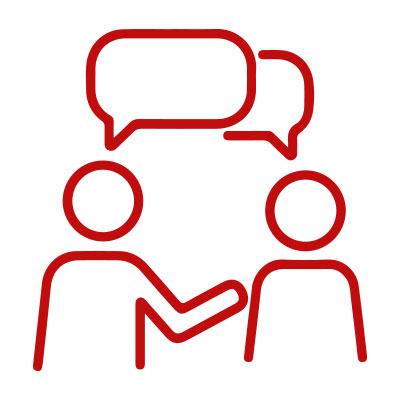 Icon Zwei Personen mit Sprechblasen