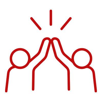 Icon Zwei Personen klatschen sich ab